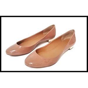 J Crew Ballet Flat Nude Patent Janet Gold Heel 9.5
